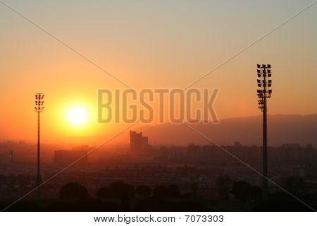 Sunset Over West Barcelona Soccer