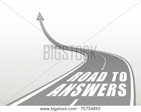 Road To Answers Words On Highway Road