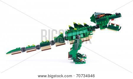 Ankara, Turkey - April 04, 2012: Studio shot of Lego Dinosaur isolated on white background