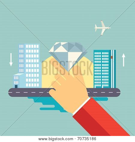 Hand Holds a Jewel on Urban Landscape Icon Vector