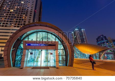 DUBAI, UAE - 3 APRIL 2014: Entrance to metro station in Dubai Internet City, UAE. Dubai Internet City is created by the government free economic zone for global information technology firms.