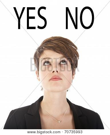 Young Woman Making Choices Isolated On White Background