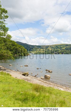 Windermere Lake District England uk on a beautiful summer day with blue sky popular tourist
