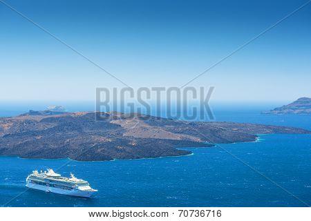 Cruise Ship On The Sea In Santorini