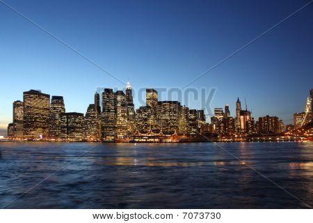 Downtown Manhattan, Brooklyn Bridge New York At Night During Blue Hour