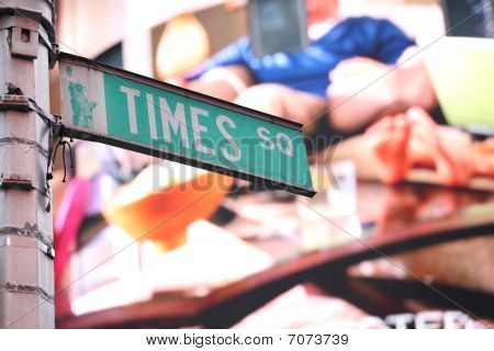 Times Square Sign In New York In Front Of Lcd Screen