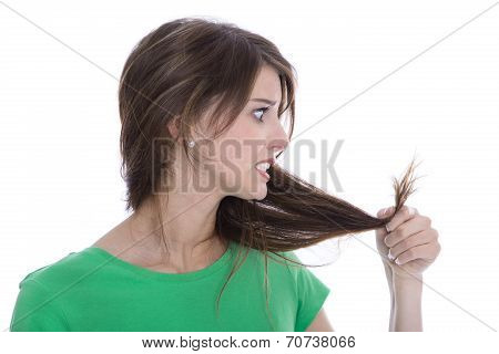 Shocked And Sad Woman - Broken Hair After Coloration.