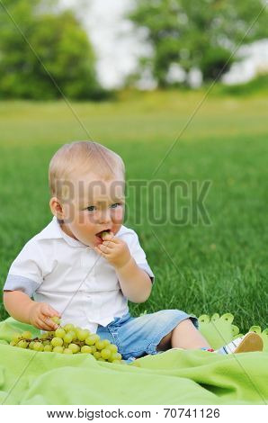 Little Boy Eats Grapes