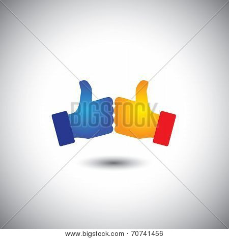 Two People Thumbs Up Or Like - Win Win Concept Vector