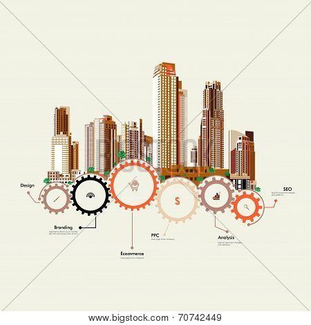 Skyscrapers stand on the gears