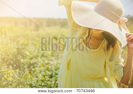 Attractive Woman In Sunny Day