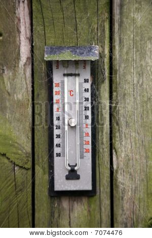 Thermometer On Aged Wooden Wall