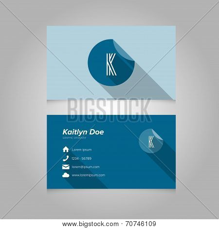 Simple Business Card Template With Alphabet Letter K
