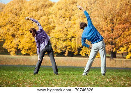 Couple Traininig In The Park