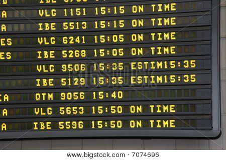 Airport Arrivals Display Close Up