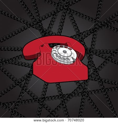 classic telephone in wire web