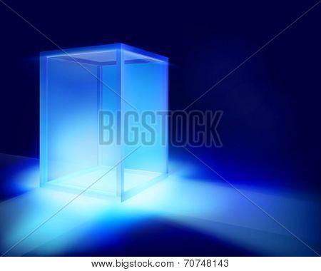 Illuminated showcase. Vector illustration.