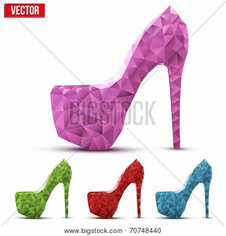 Set of colorful abstract woman shoes on high heels in triangulation style.