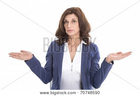 Satisfied Middle-aged Woman In Blue - Isolated Over White Background.