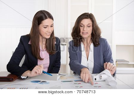 Two Business Woman Analyzing Balance Sheet.