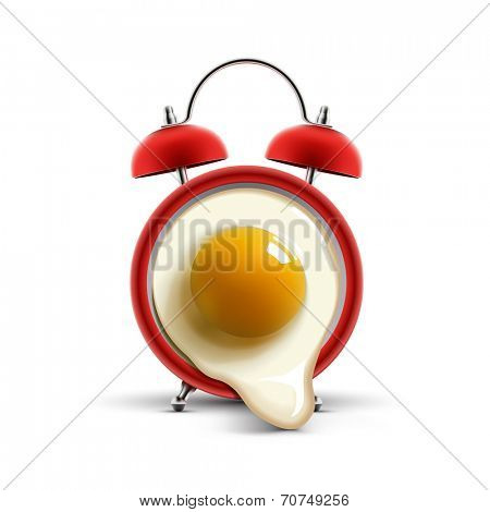red alarm clock with egg