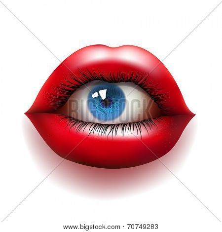 open red lips with eyeball