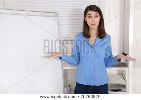 Solution Searching Businesswoman Standing Before Flip Chart.