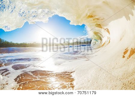 Sandy Ocean Wave Crashing onto the Beach