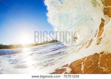Sandy Ocean Wave Crashing onto the Beach