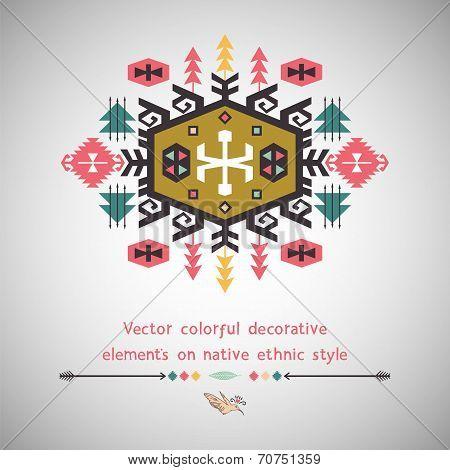 Colorful decorative element on ethnic style