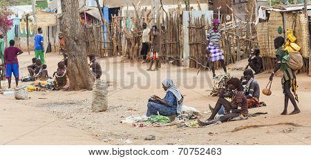 Street Market In Small Hamer Village. Dimeka. Omo Valley. Ethiopia.