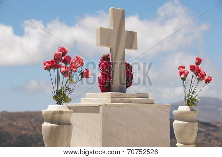 Marble Tombstone In A Cretan Graveyard. Greek