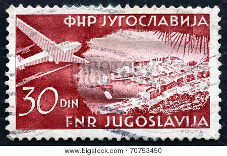 Postage Stamp Yugoslavia 1951 Plane Over Dubrovnik