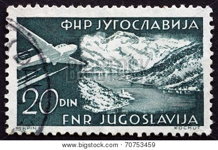 Postage Stamp Yugoslavia 1951 Plane Over Gulf Of Kotor