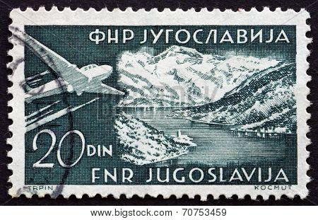 Postage Stamp Yugoslavia 1951 Plane Over Gulf Of Kotor