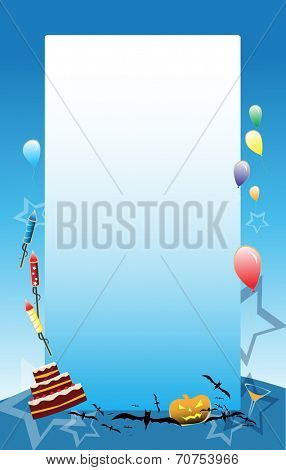 Blue vector Party background with baloons, cake and other party symbols