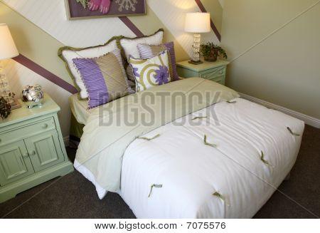 Comfortable modern designer bedroom.
