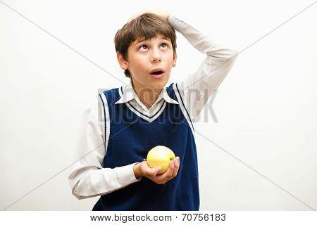 boy, who fell on the head of an apple