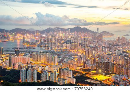 Hong Kong Skyline Kowloon from Fei Ngo Shan hill sunset