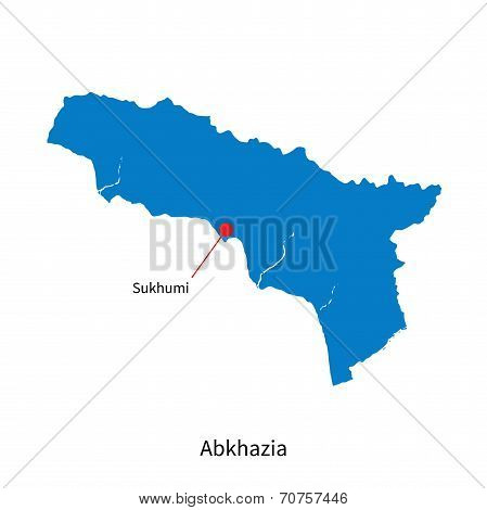 Detailed vector map of Abkhazia and capital city Sukhumi
