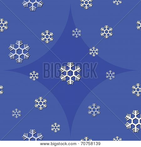 seamless background of snowflake on blue tone