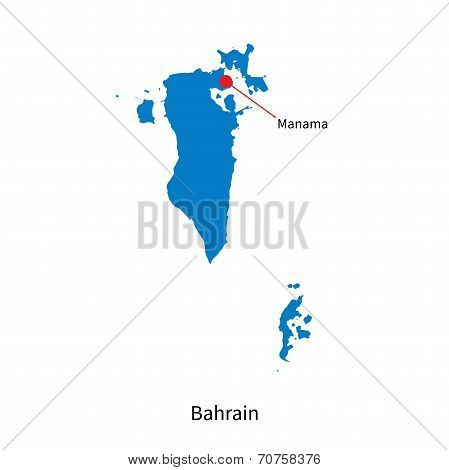 Detailed vector map of Bahrain and capital city Manama