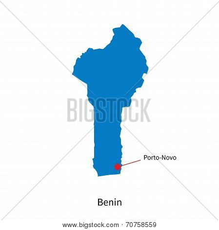 Detailed vector map of Benin and capital city Porto-Novo
