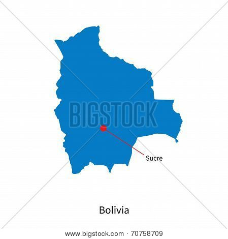 Detailed vector map of Bolivia and capital city Sucre