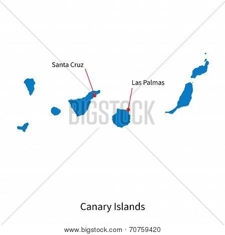 Detailed vector map of Canary Islands and capital city Santa Cruz
