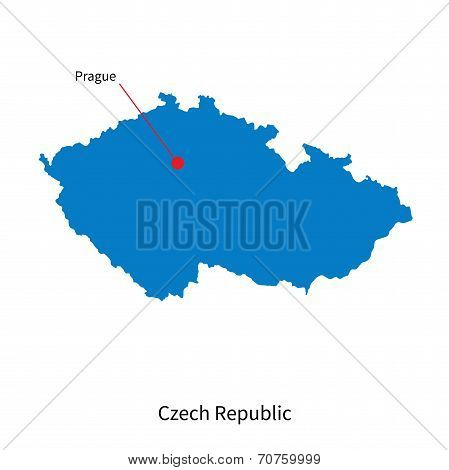 Detailed vector map of Czech Republic and capital city Prague