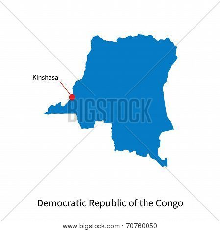 Detailed vector map of Democratic Republic of the Congo and capital city Kinshasa