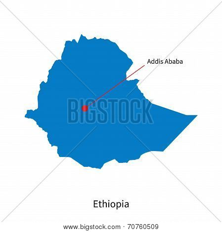 Detailed vector map of Ethiopia and capital city Addis Ababa