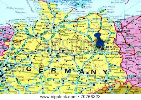 Berlin pinned on a map of europe