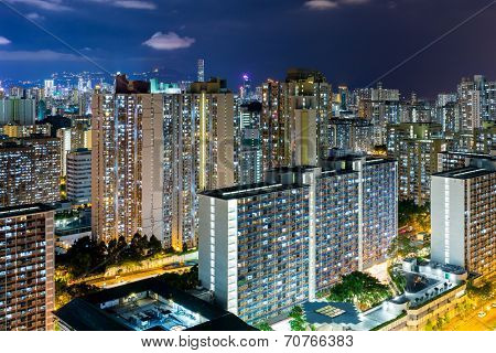 Hong Kong city life at night